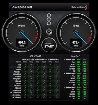 internal SSD test showing 1GB/sec writes