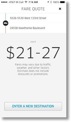 fare showing $21-27 for the route chosen