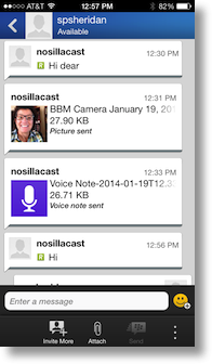 BBM window showing voice note, chat and photo