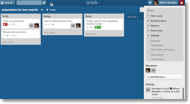 trello window showing some cards and actions