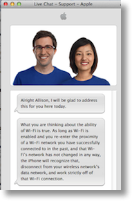 Apple live chat saying what the text says here