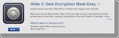 HIDER2 in Mac App Store showing $9.99 price