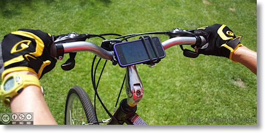 iPhone in Handleband showing how it is mounted to the bike