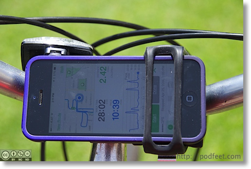 closeup of iPhone in the Handleband