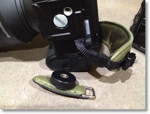 how the strap attaches to the Nikon