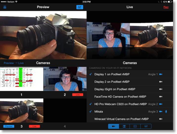 screenshot of multicam in action