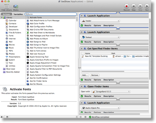 Automator window showing some of my work flow