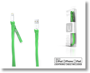 3 ft neet cable cover in lime green including the actual lightning cable
