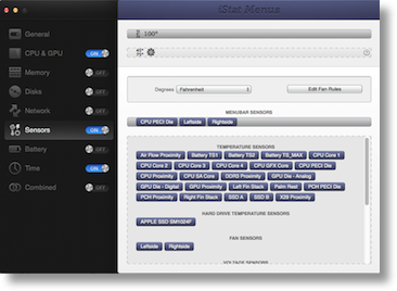 iStat Menus showing options for sensors