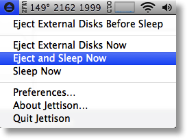 Jettison showing Eject and Sleep Now