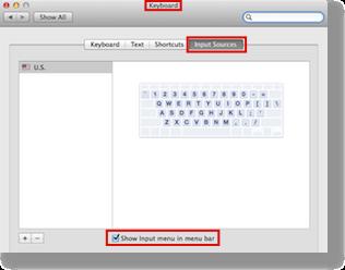 Keyboard preference pane set to input sources