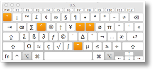 keyboard viewer with option key held down