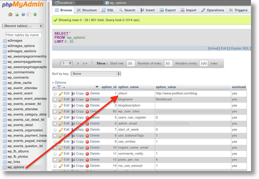 phpmyadmin window showing the table