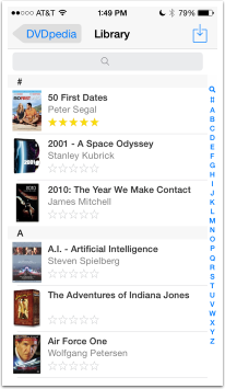 screenshot from my iPhone showing movies, search and alphabet lookup