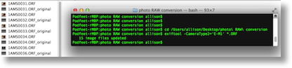 screenshot of the finder window showing .orf RAW files and the Terminal running the commands