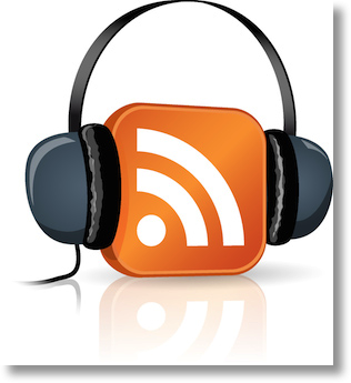 headphones over an RSS icon