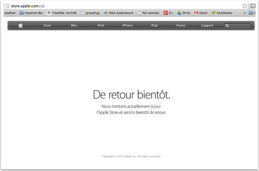 apple story saying be back soon in maybe French?