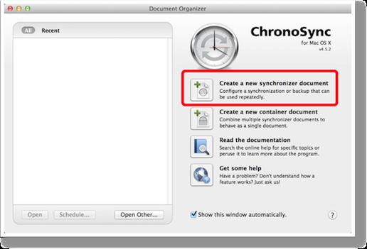 Chronosync window showing add a new document