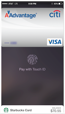touched showing on Passbook with a credit card