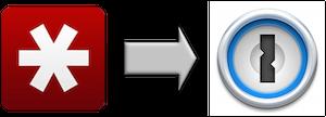 LastPass logo with arrow pointing to 1Password logo