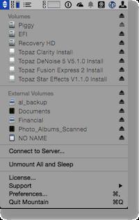 Mountain menu bar app showing internal, external and servers