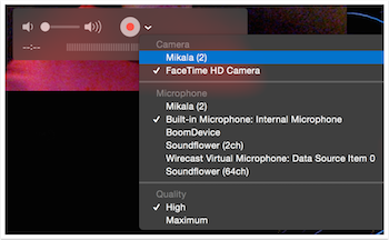 selecting video source within QuickTime