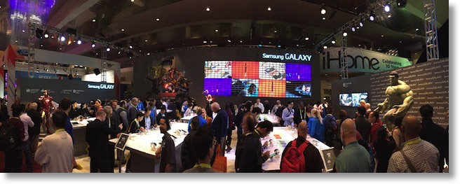 giant samsung booth with Marvel characters