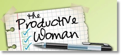logo for the podcast showing script text of productive woman