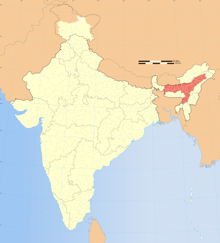 map of India highlighting Assam