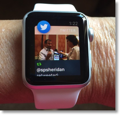 Apple Watch showing a tweet with an image of me