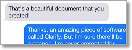 BobbyCo's co-worker praising how beautiful the document looked