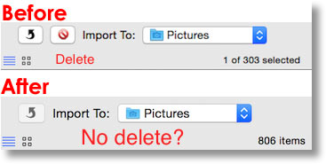 delete button there before iCloud and gone after