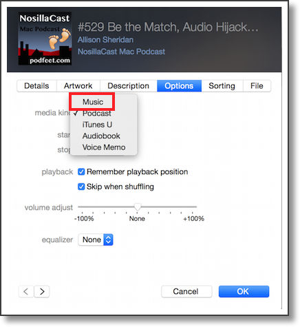 itunes showing pulldown for media to Music
