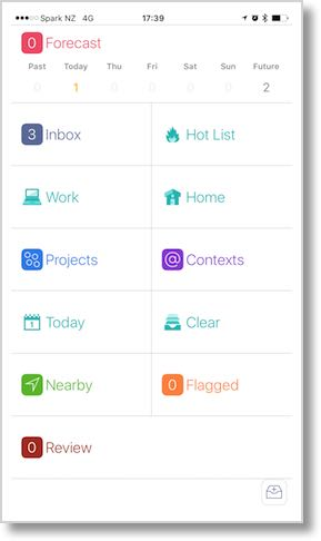 Omnifocus home screen showing different views of projects