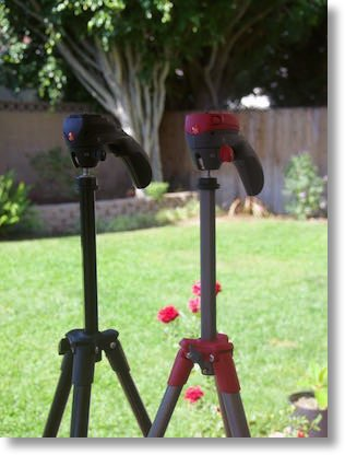 Steve and my adorable matching tripods (mine in red!)