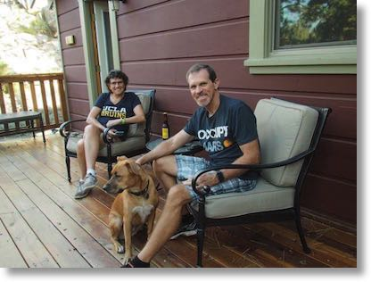 Steve and me relaxing in the mountains with Tesla