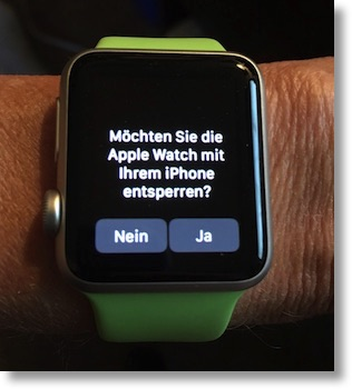 Apple Watch saying something in German