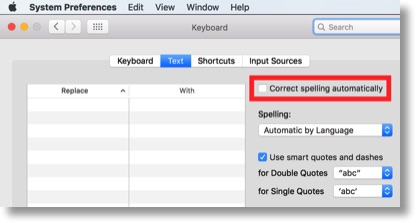 turning spell check off in system prefs
