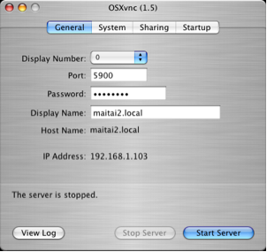 VNC server setup window