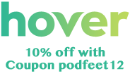 Hover logo saying coupon code (listen to show)